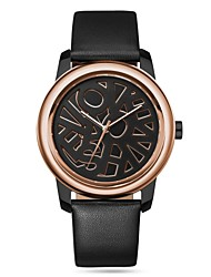 Men's Watch Icon Series Alloy Dial Leather Band Irregular Dial Quartz Movement Wrist Watch (Assorted Colors)