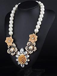 MTS Western Style Metal Diamonade Vintage Flower Pearl Necklace
