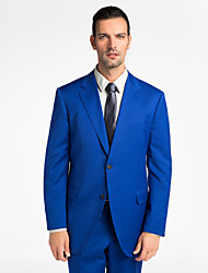 (Premium) Blue 100% Wool Tailored Fit Two-Piece uit