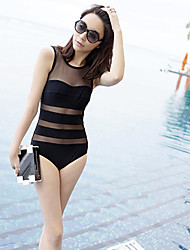 Women's Sexy Black Transparent Stripes Swimsuit