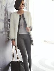 hansifei eleganten westlichen Stil Kunstfellmantel PU-Spleiß