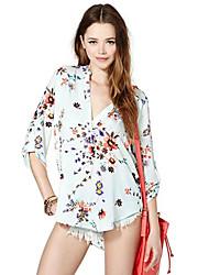 V Neck Floral Print Long Sleeve Shirt