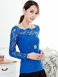 Women'S Scoop neck Elegant Slim Lace Shirt