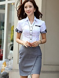 Women's Formal Simple / Street chic All Seasons Shirt,Solid Shirt Collar Short Sleeve Blue / White Polyester Thin