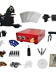 1 Gun Complete No Ink Tattoo Kit with Dark Steel Tattoo Machine and Aluminum alloy Power Supply