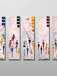 Hand Painted Modern Abstract  Oil Painting with Stretched Frame Set of 5