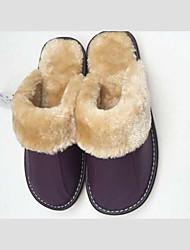 Юфу теплые кожаные слайд тапочки (фиолетовый)