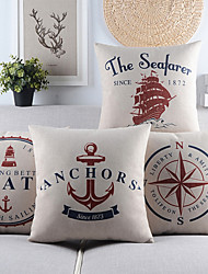 Set of 4 Seafarer and Boat Theme Cotton/Linen Decorative Pillow Cover