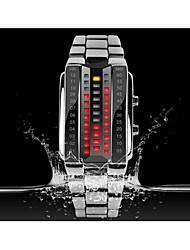 SKMEI Жен. Модные часы электронные часы Цифровой LED Нержавеющая сталь Группа Люкс Черный Серебристый металл