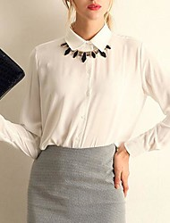 Women's Solid Blue/White/Black/Yellow Blouse/Shirt , Shirt Collar Long Sleeve