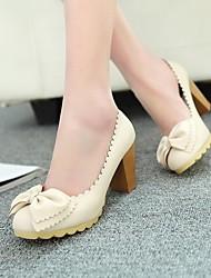zapatos de las mujeres del dedo del pie redondo bombas de tacón grueso con zapatos bowknot más colores disponibles