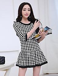 Women's Sweet Houndstooth Princess 3/4 Sleeve Mini Dress