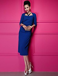 Women's Party Sexy / Vintage Dress Midi Long Sleeve Blue / Pink Others All Seasons