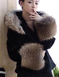 xt splicing pelliccia di volpe coat_76 (nero, bianco)