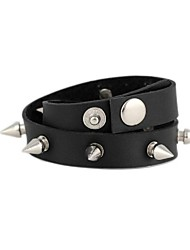 Unisex Punk Style Wrapped Metal Spike Leather Bracelet (1Pc)