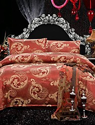 Duvet Cover Set,4-Piece The High-end Luxury Satin Jacquard Silk Bedding And Court Wind(200*230cm)