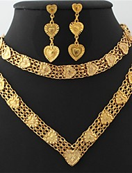 U7 Vintage Hearts 18K Chunky Yellow Gold Plated Choker Necklace Bracelet Earrings Set 18Inches 46CM