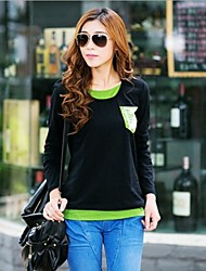 Women's Autumn Faux Two Piece Round Collar Base T Shirts