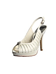 Women's Summer / Fall Slingback Satin / Stretch Satin Wedding Stiletto Heel Rhinestone Ivory / White