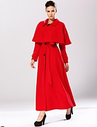 Women's Red Trench Coat , Casual Long Sleeve Wool/Cashmere