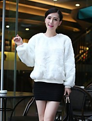 Fashion Long Sleeve Collarless Faux Fur Jacket(More Colors)