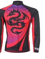XINTOWN Men 's Dragon Breathable Polyester Long Sleeve Cycling Jersey—Red+Black