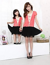 Family's Fashion Leisure Mother Daughter False Two Pleated Dress
