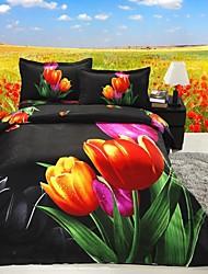 Four Piece 3D Canvas Tulip Print Duvet Set