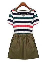 Women's Round Collar Fashion Nail Bead Stitching Color Stripe Dress