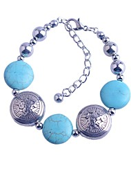 Lureme®Turkey Blue Tophus Disc + Alloy Disc Bracelet