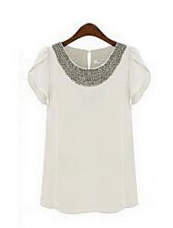 GGN Women's Ruffle Short Sleeve Bead Rivet Shirt