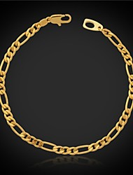 U7 Top Quality 18K Chunky Gold Filled Figaro Chain Bracelet or 4MM 7.6Inches 19.5CM