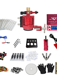 1 Gun Complete No Ink Tattoo Kit with Red Motor Machine and Lcd Screen Red Power Supply