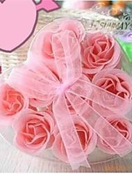 9 românticos rosa sabão flores em forma de coração (cor aleatória)