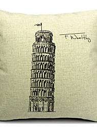 la tour penchée de Pise coton / lin taie d'oreiller décoratif