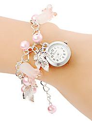 Femme Montre Tendance Bracelet de Montre Quartz Bande Perles Rose Rose