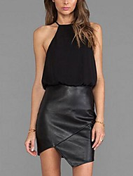Women's Solid Black Dress , Sexy/Bodycon/Casual/Work Halter Sleeveless