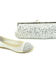 Women's Shoes Comfort Flat Heel Paillette Flats Shoes Matching Paillette Clutches Bag