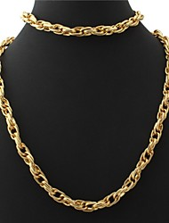 U7  Cool Men's 18K Chunky Gold Filled Twisted Chain Necklace Bracelet Set 11MM 22Inches (55CM)