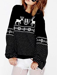 Women's Round Snowflake Deer Pattern Loose Sweater