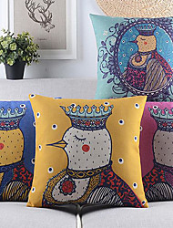 Set of 4 Cartoon Rooster Cotton/Linen Decorative Pillow Cover