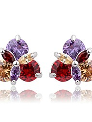 S&V Brass With Cubic Zirconia Stud Earrings (More Colors)