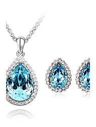 Buling Women's Crystal Teardrop Dangling Necklace