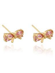 Women's Fashion Bowknot Design 18K Gold Plated Zircon Earrings