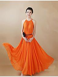 hongxia halter de las mujeres vestido de color sólido hasta los tobillos
