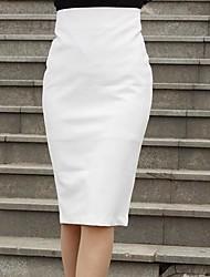 Women's White/Black Skirts , Sexy Knee-length