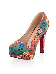 Women's Shoes Platform Round Toe Stiletto Heel Linen Pumps Shoes