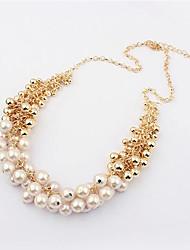 Viva Women's Korean Vintage Pearl Statement Necklace