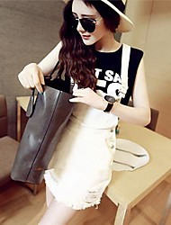 Women's Casual/Daily Cute Spring / Summer T-shirt Suits,Solid Crew Neck Short Sleeve Cotton / Others Opaque