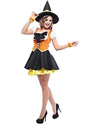 sorcière méchante costume d'Halloween d'Orange polyester femmes avec un arc
